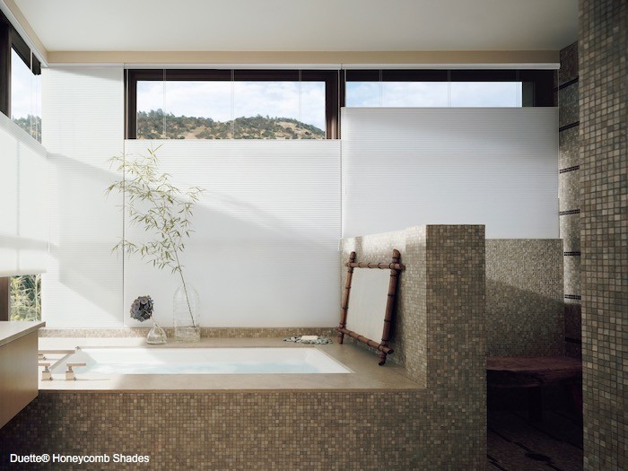 A bathroom with built-in spa-style tub.